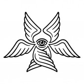 Seraphim six-winged angel from Bible Book of Revelation Stylized Seraph illustration for tattoo design black and white line art