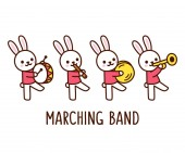Marching band of cute cartoon bunnies playing musical instruments Adorable vector clip art illustration