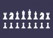 White chess pieces icon set on dark background Simple flat cartoon style symbols vector illustration