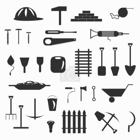 Photo pour Illustration de symboles outils de construction - image libre de droit