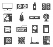 Computer hardware black and white glyph icons set