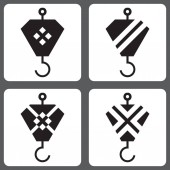 Vector icons set with hooks from the crane for design