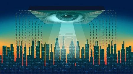 Illustration pour Concept de technologie numérique informatique de haute technologie, service cloud, surveillance mondiale - image libre de droit