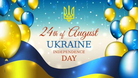 August 24, independence day of ukraine, vector template with ukrainian flag and colored balloons on blue shining starry background. National holiday of ukraine on august 24. Independence day card