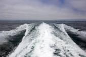 Ventura coast line as seen from speeding in ocean cruise ship, Southern California