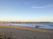 Recreational fishermen near historic wooden pier, City of San Buenaventura, Southern California