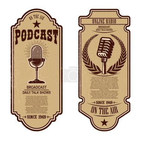 Photo pour Ensemble de podcast vintage, flyers de radio avec microphone. Élément de conception de logo, étiquette, signe, insigne, affiche. Illustration vectorielle - image libre de droit