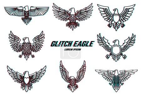Photo pour La valeur d'illustration eagle dans le style de la ligne à partir de glitch. Élément de conception de logo, étiquette, emblème, signe, affiches. Illustration vectorielle - image libre de droit
