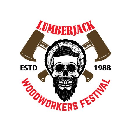 Lumberjack. Woodworkers festival. Emblem template with skull and hatchets. Vector illustration