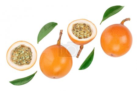 Photo for Granadilla or yellow passion fruit with leaf isolated on white background. Top view. Flat lay. - Royalty Free Image