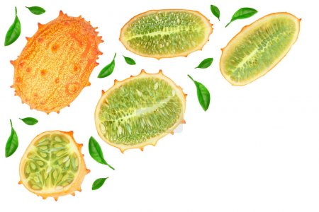 Photo for Kiwano or horned melon isolated on white background with copy space for your text. Top view. Flat lay - Royalty Free Image