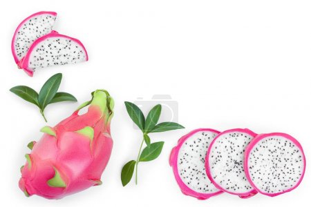 Photo for Dragon fruit, Pitaya or Pitahaya isolated on white background with copy space for your text. Top view. Flat lay. - Royalty Free Image