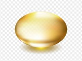 Oil vitamin A E or collagen gold capsule Golden oval bubble depicting Omega 3 oil or gold serum template isolated on transparent background