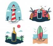 Four mini illustration of beach holiday theme