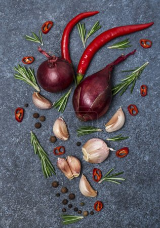 Photo for Food composition with garlic, rosemary twigs, chilli peppers and red onions on stone background - Royalty Free Image