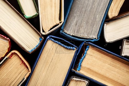Photo for Close view of backbones of old vintage books - Royalty Free Image