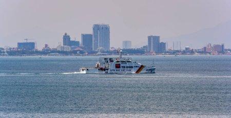 VUNG TAU, VIETNAM - April 25, 2017: Vietnamese Fisheries resource surveillance patrol vessel KN-491 in front of Vung Tau waterfronts.