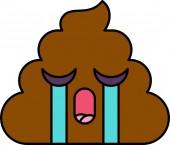 Crying teary turd emoji vector illustration