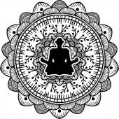 Yogi sitting in lotus pose black silhouette