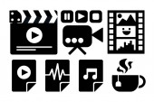 Cinema business black and white sticker set