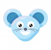Mouse face smiling emoticon sticker