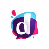 D letter chat app logo at colorful watercolor splash background