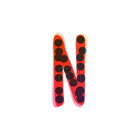 N lettre logo manuscrit avec un stylo feutre rouge. Icône vectorielle parfaite pour la conception des enfants, emballage artisanal drôle, étiquettes mignonnes, etc..