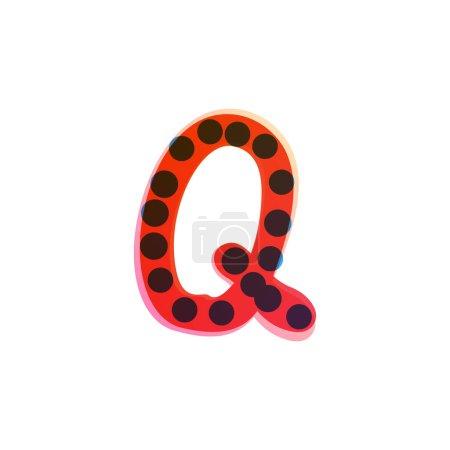 Q lettre logo manuscrit avec un stylo feutre rouge. Icône vectorielle parfaite pour la conception des enfants, emballage artisanal drôle, étiquettes mignonnes, etc..