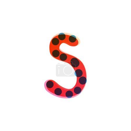 S lettre logo manuscrit avec un stylo feutre rouge. Icône vectorielle parfaite pour la conception des enfants, emballage artisanal drôle, étiquettes mignonnes, etc..