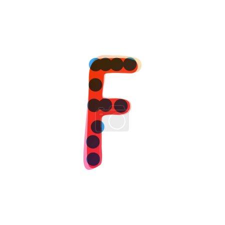 F lettre logo manuscrit avec un feutre rouge pointe stylo. Icône vectorielle parfaite pour la conception des enfants, emballage artisanal drôle, étiquettes mignonnes, etc..