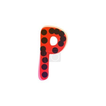 P lettre logo manuscrit avec un feutre rouge pointe stylo. Icône vectorielle parfaite pour la conception des enfants, emballage artisanal drôle, étiquettes mignonnes, etc..