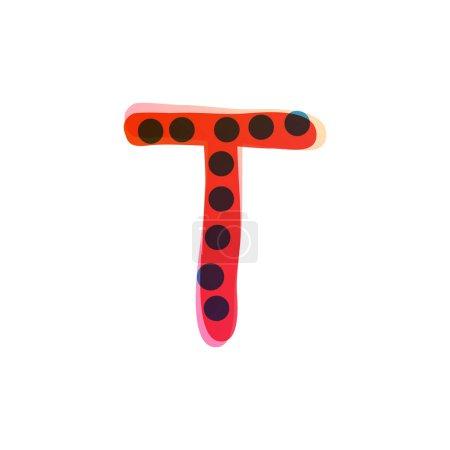 T lettre logo manuscrit avec un stylo feutre rouge. Icône vectorielle parfaite pour la conception des enfants, emballage artisanal drôle, étiquettes mignonnes, etc..