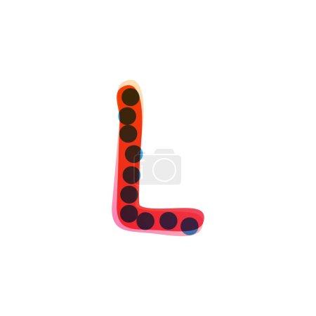 L lettre logo manuscrit avec un feutre rouge pointe stylo. Icône vectorielle parfaite pour la conception des enfants, emballage artisanal drôle, étiquettes mignonnes, etc..