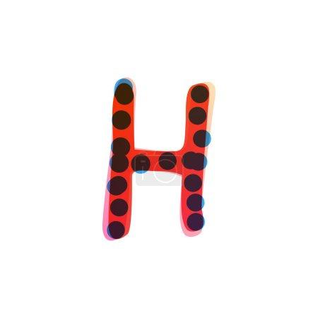Logo de la lettre H écrit à la main avec un stylo feutre rouge. Icône vectorielle parfaite pour la conception des enfants, emballage artisanal drôle, étiquettes mignonnes, etc..