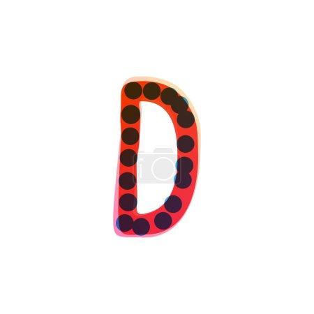 Logo de la lettre D écrit à la main avec un stylo feutre rouge. Icône vectorielle parfaite pour la conception des enfants, emballage artisanal drôle, étiquettes mignonnes, etc..