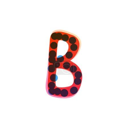 Logo de la lettre B écrit à la main avec un stylo feutre rouge. Icône vectorielle parfaite pour la conception des enfants, emballage artisanal drôle, étiquettes mignonnes, etc..