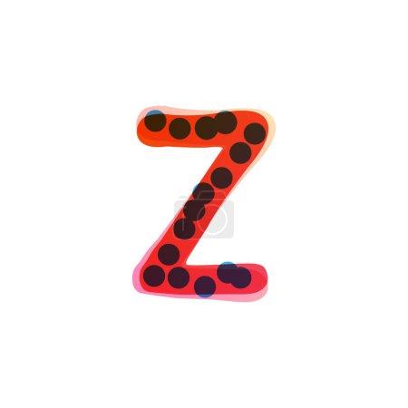 Logo de lettre Z écrit à la main avec un stylo feutre rouge. Icône vectorielle parfaite pour la conception des enfants, emballage artisanal drôle, étiquettes mignonnes, etc..