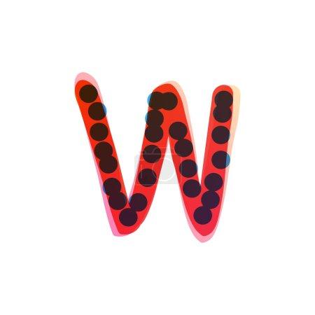W lettre logo manuscrit avec un stylo feutre rouge. Icône vectorielle parfaite pour la conception des enfants, emballage artisanal drôle, étiquettes mignonnes, etc..
