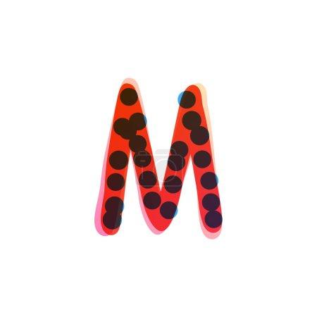 M lettre logo manuscrit avec un stylo feutre rouge. Icône vectorielle parfaite pour la conception des enfants, emballage artisanal drôle, étiquettes mignonnes, etc..