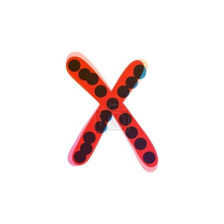 Logo de la lettre X écrit à la main avec un feutre rouge. Icône vectorielle parfaite pour la conception des enfants, emballage artisanal drôle, étiquettes mignonnes, etc..
