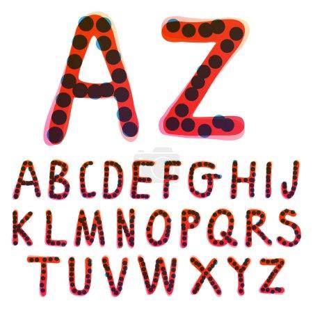 Alphabet manuscrit avec un feutre rouge. Icône vectorielle parfaite pour la conception des enfants, emballage artisanal drôle, étiquettes mignonnes, etc..