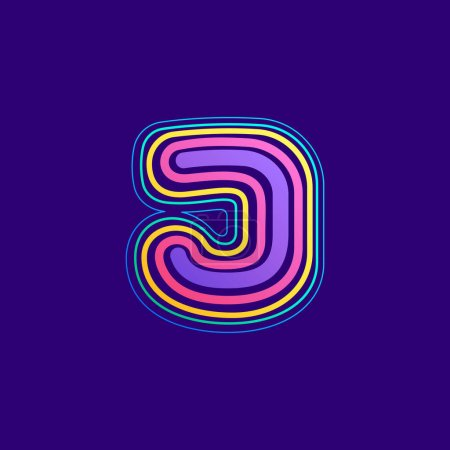Ligne colorée J lettre logo. Cette icône faite d'AVC peut être utilisée pour une publicité de la vie nocturne, l'art cartographique, l'identité du modem, etc..