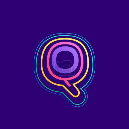 Ligne colorée Q lettre logo. Cette icône faite d'AVC peut être utilisée pour une publicité de la vie nocturne, l'art cartographique, l'identité du modem, etc..