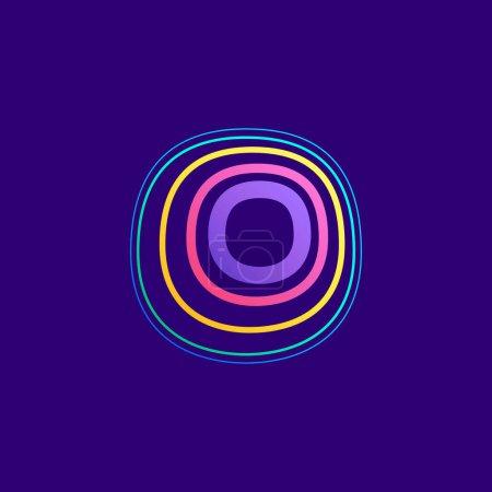 Ligne colorée O lettre logo. Cette icône faite d'AVC peut être utilisée pour une publicité de la vie nocturne, l'art cartographique, l'identité du modem, etc..