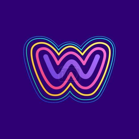 Ligne colorée W lettre logo. Cette icône faite d'AVC peut être utilisée pour une publicité de la vie nocturne, l'art cartographique, l'identité du modem, etc..
