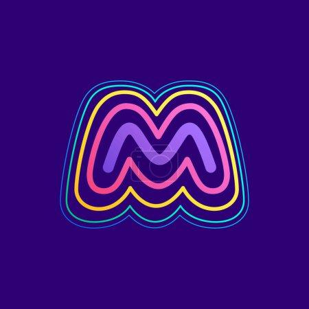 Ligne colorée M lettre logo. Cette icône faite d'AVC peut être utilisée pour une publicité de la vie nocturne, l'art cartographique, l'identité du modem, etc..