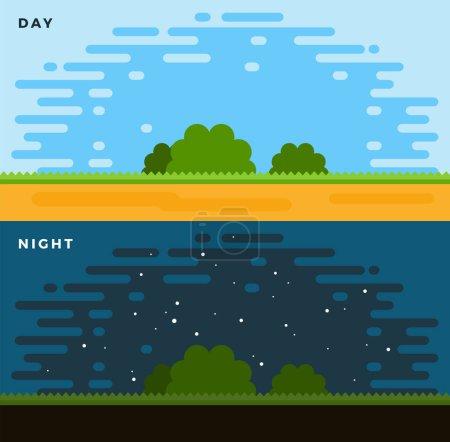 Illustration pour Vecteur jour et nuit design plat isolé sur blanc - image libre de droit