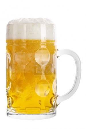 Photo for Beer in mug with foam and bubbles isolated on white background . file contains space for text - Royalty Free Image