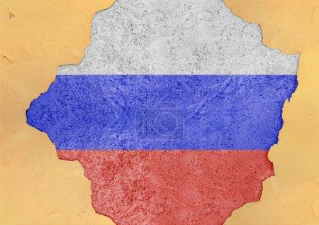 Photo pour Drapeau de Russie peint sur un trou de béton et une façade murale fissurée - image libre de droit