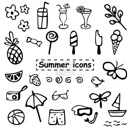 Summer icons. Blackly white. Vector. Illustrator